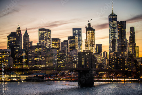 Foto op Plexiglas New York TAXI Manhattan skyline at sunset