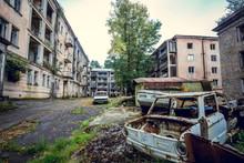 Abandoned Mining Ghost-town Jantuha, Abkhazia. Destroyed Empty Houses