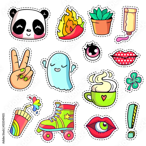 cool stickers set in 80s 90s pop art comic style patch badges and