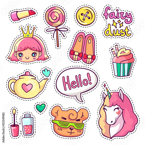 Colorful vector patch badges with animals, characters and