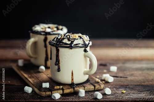 Foto op Plexiglas Chocolade hot chocolate or irish coffee or cocoa drink with whipped cream