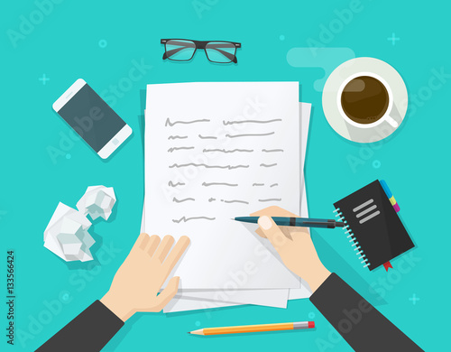 Fotografía Writer writing on paper sheet vector illustration, flat cartoon person hands wit
