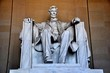 canvas print picture - Washington, DC - April 10, 2014:  Daniel Chester French's sculpture of a seated President Abraham Lincoln inside the Lincoln Memorial