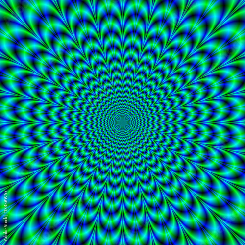 Spoed Foto op Canvas Psychedelic Optically Challenging Brain Buster / A digital fractal image with an optically challenging design in green, blue and turquoise.