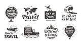 Travel set icons. Handwritten lettering. Label vector illustration