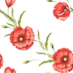 Panel SzklanyDelicate seamless pattern with poppies. Watercolor illustration.