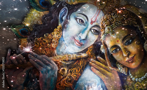 Krishna and Radha, beautiful hindu divine couple, painting collage Fototapet