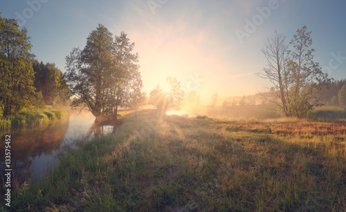 In de dag Beige Summer landscape of bright sunrise