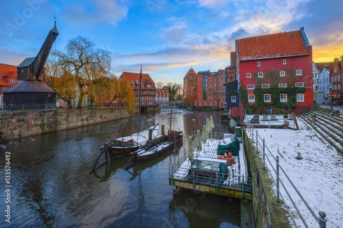 Fotografia, Obraz  Lüneburg im Winter 1 / Die Ilmenau in der Hansestadt Lüneburg (Niedersachsen, Deutschland)
