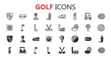 Simple Modern Set Of Golf Icon...