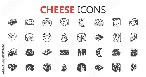 Fotografie, Obraz  Simple modern set of cheese icons