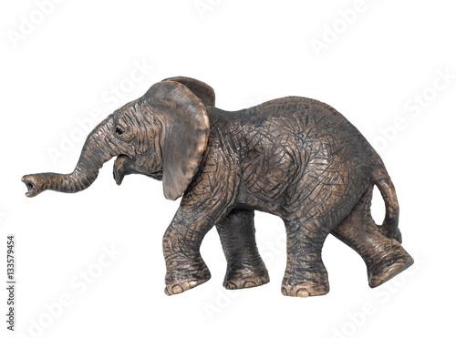 Toy Elephant Isolated On White Background Plastic Toy Elephant