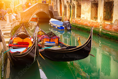 Canvas Prints Venice Canal with two gondolas in Venice, Italy