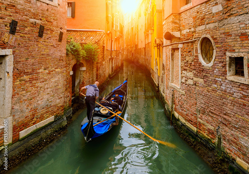 Canal with gondola in Venice, Italy