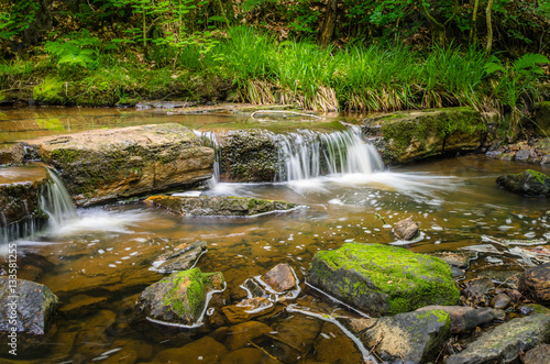 Aluminium Prints Forest river Beautiful Small Waterfall in a Forest