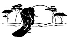 African Elephant Silhouette Ve...