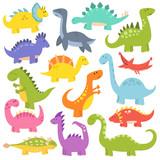 Fototapeta Dinusie - Cartoon cute dinosaurs vector.