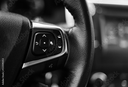 Fotomural Car dashboard black and white