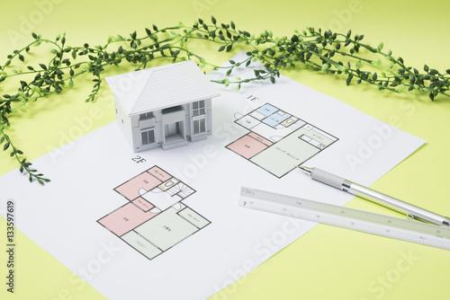 Fotografía  住宅設計のイメージ 住宅の設計図と模型