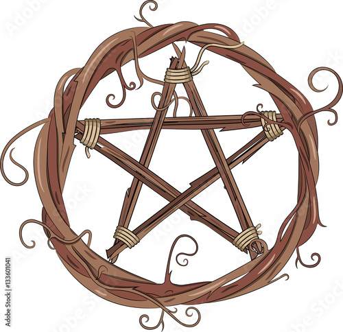 Photo Vine wreath and pentagram