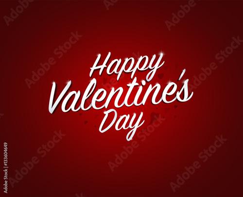 Happy Valentine S Day Words In Red Background Vector Illustrati