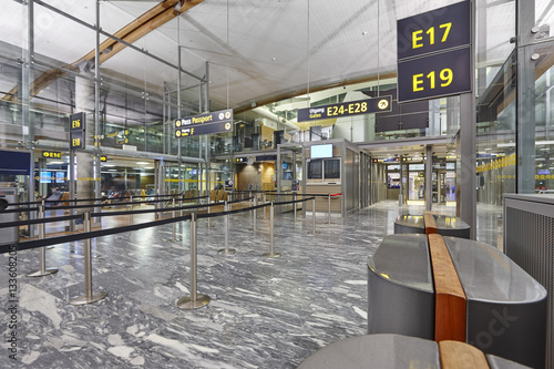 Foto op Aluminium Luchthaven Airport passport control area with lines and cabins. Internation