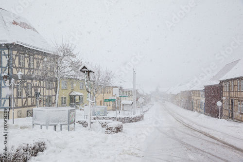 Foto op Canvas Drawn Street cafe Güntersberge im Winter