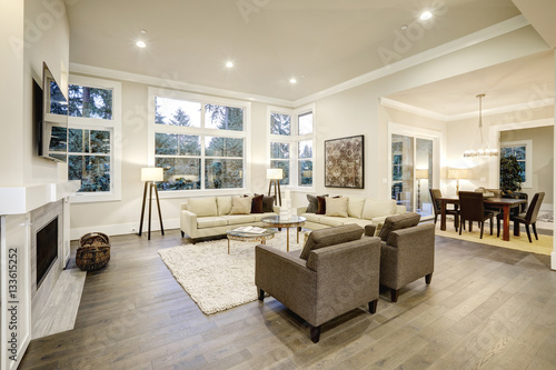 Photo  Chic light living room design with dark floors.