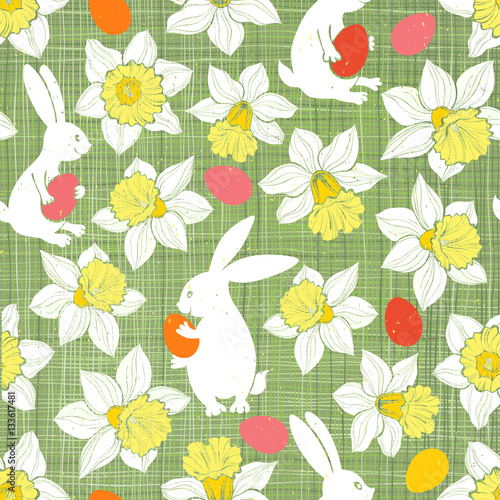 Cotton fabric Easter Bunnies and Daffodils. Seamless vector pattern.