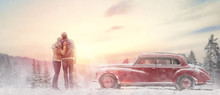 Loving Couple And Vintage Car