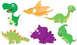 Fototapeta Dinusie - Cute Dinosaur cartoon collection set