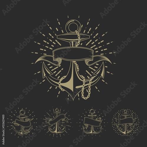 7a2fc8a1c Anchor maritime sailor tattoo set or vintage nautical logo collection