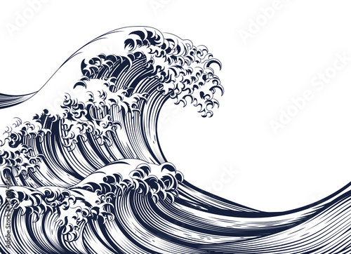 Great Wave Vintage Style Woodcut Fototapeta