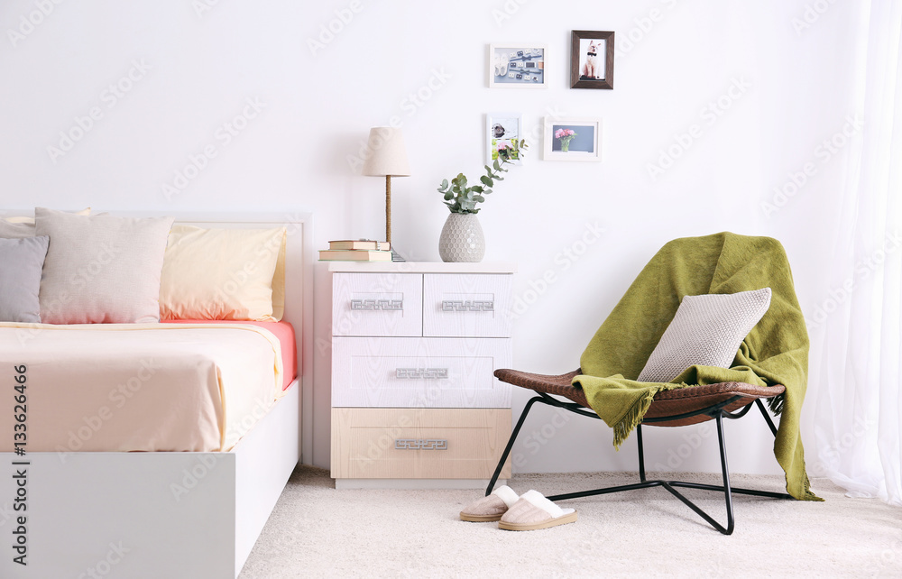 Fototapety, obrazy: Interior of modern bedroom with cozy double bed