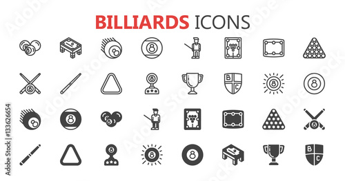 Canvas Print Simple modern set of billiards icons