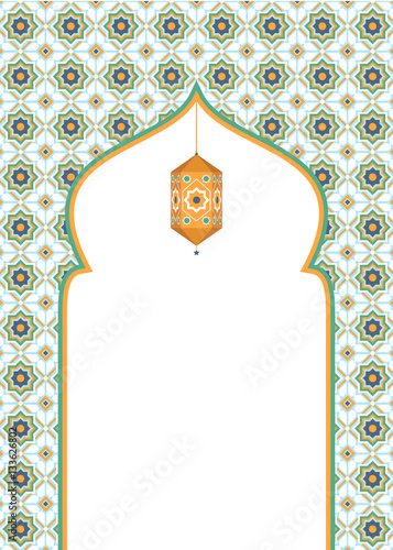 Photo  Islamic art background design with blank space
