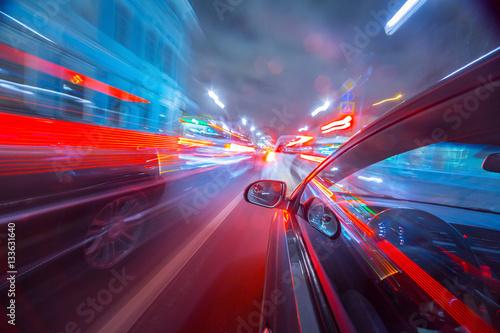 Fototapeta night city drive by car obraz na płótnie