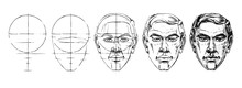 Learn Step By Step To Draw The Face Of A Man.