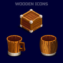 Set Isometric Cartoon Wooden Icons For Game. Vector Ui Object Box, Barrel And Mug