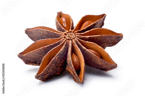 Fototapeta Single Star anise (dried Ilicium fruit), paths obraz