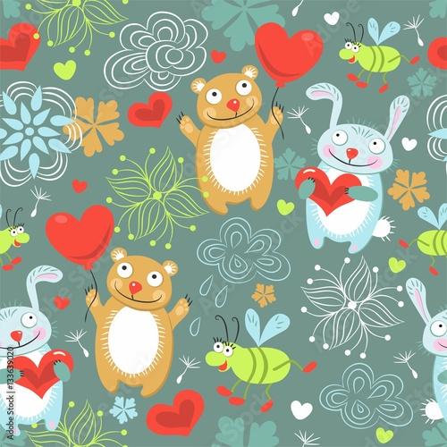 Materiał do szycia Dzieci bezszwowe tło z zająca, niedźwiedź, chrząszcz, serce