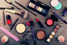 Top View Of Makeup Cosmetics Set