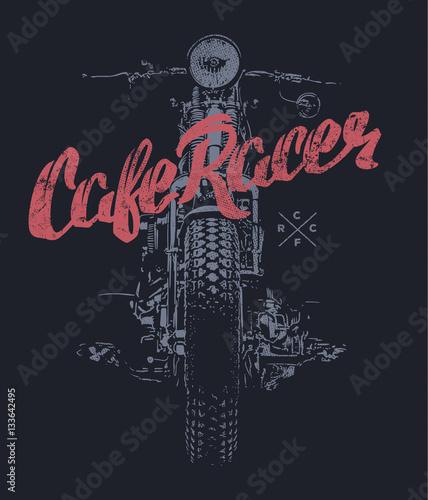Fotografia Cafe racer Vintage Motorcycle hand drawn t-shirt print