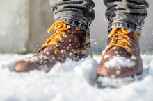 Brown Leather Shoes In The Sno...
