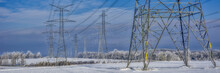 Fozen Power Lines And Hydro Towers After Ice Storm