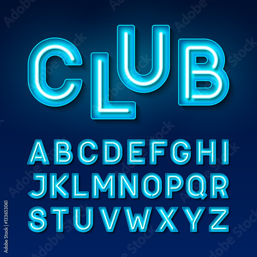 Broadway night club vintage style neon font, blue