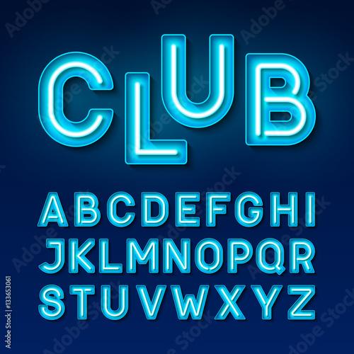 Broadway night club vintage style neon font, blue