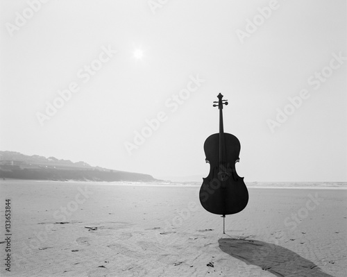 Cello On the Beach Tapéta, Fotótapéta