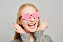 Woman In Love With Two Pink Hearts On Her Eyes