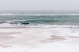 Śnieżysta plaża podczas opadu śniegu, seascape - 133659629